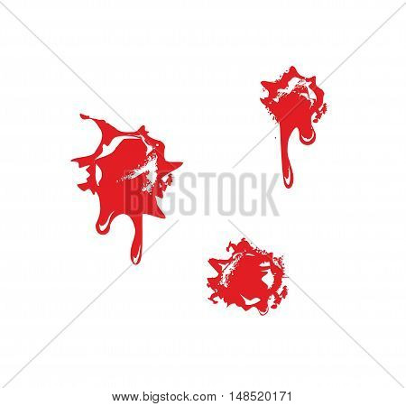 Bullet holes with blood splatters. Flat vector illustration on white background.