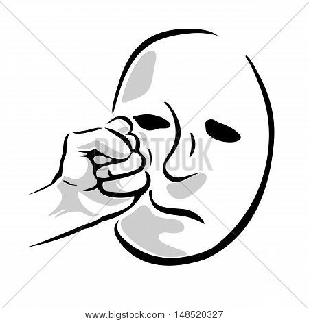 Face punch. Human hand with a clenched fist. Vector black and gray illustration isolated on a white background. For web poster info graphic