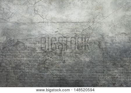 Stylish vintage fantasy stone brick and decorative stucco texture with crackles and scratches for design