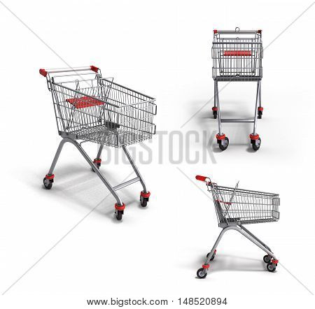 Collection Of Empty Trolley From The Supermarket 3D Render On White Background
