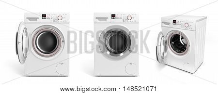Collection Of Washing Machine On White Background 3D Illustration