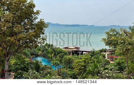 Summer tropical landscape on the background of the sea pool.