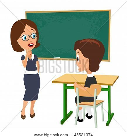 Surprised teacher with open mouth and schoolgirl sitting at a desk turning half-turned. Color vector illustration isolated on white background.