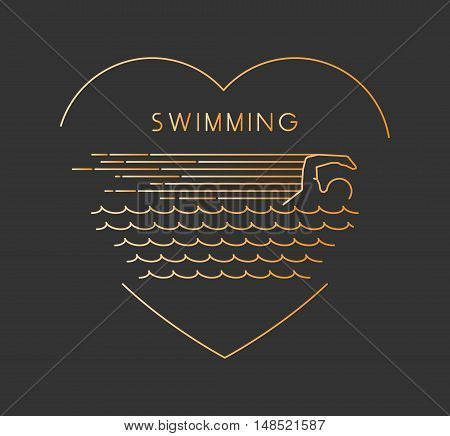 Line vector symbol for swimming with open path. I love swim. Outline figure swimmer. Stylish logo swimming on white background. Open path.