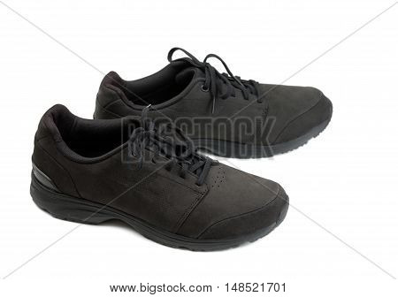 pair of black men shoes. Isolate on white