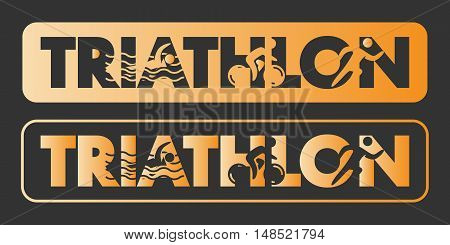 Gold triathlon logo and icon. Swimming cycling running symbols. Silhouettes of figures triathlete. Vector sport label and badge