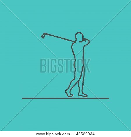 Cool line golf icon. Vector silhouette of golf player.