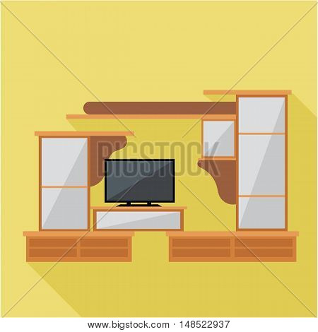 Digital vector brown cabinet furniture and tv set over yellow background isolated, flat style