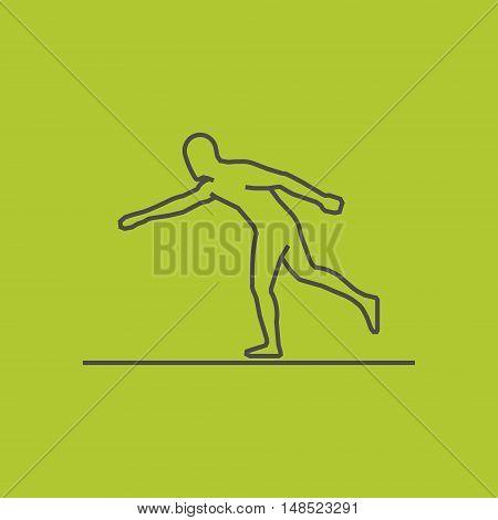 Cool line baseball icon. Vector silhouette of baseball player. Modern outline baseball logo.