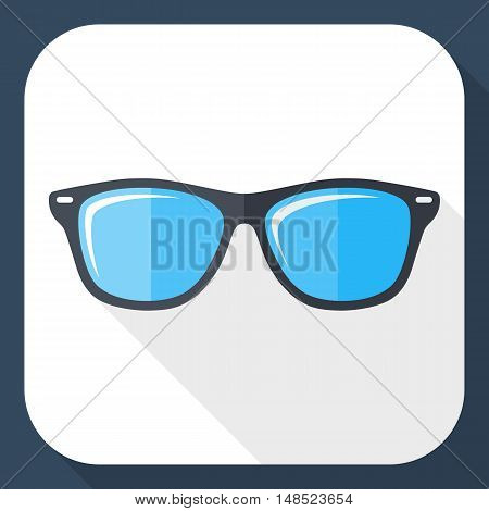 Vector Glasses Icon. Glasses Simple Icon In Flat Style With Long Shadow