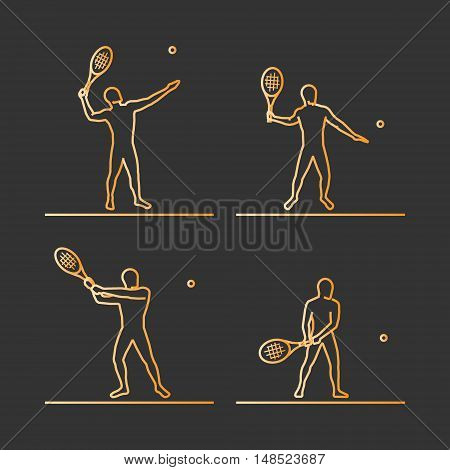 Gold silhouettes of tennis. Vector set of linear tennis player figures.