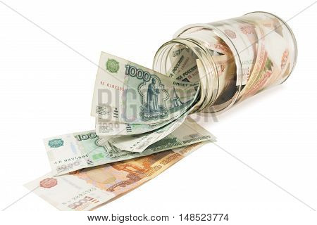 Bank with money dollars euros on a white background