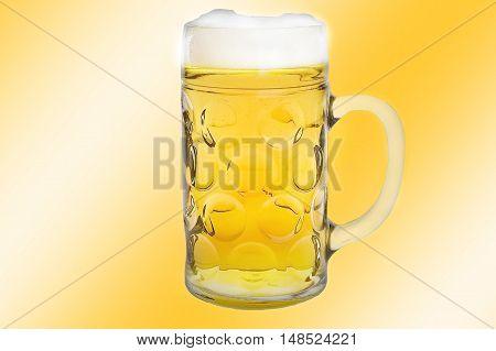 Nice Beer mug on yellow gradient background.