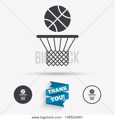 Basketball basket and ball sign icon. Sport symbol. Flat icons. Buttons with icons. Thank you ribbon. Vector
