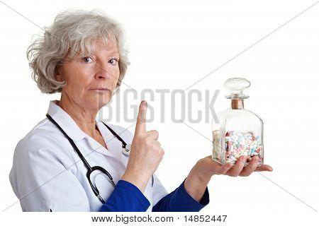 Elderly Doctor Shaking Finger