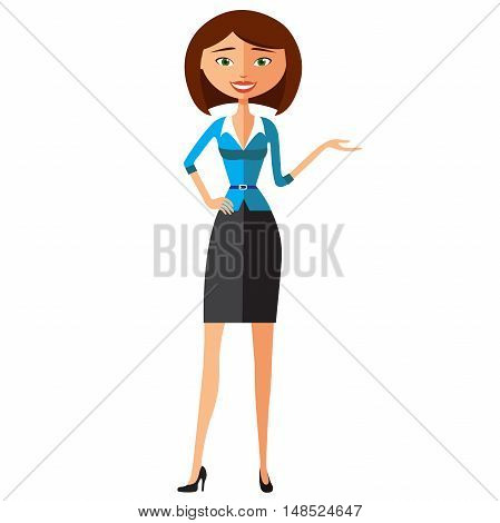 Smiling business girl presents something. Presenting and smiling young woman flat cartoon vector illustration. Eps10. Isolated on a white background.