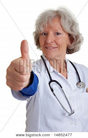 Elderly Doctor Holding Thumbs Up