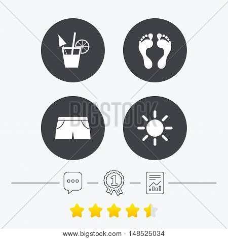 Beach holidays icons. Cocktail, human footprints and swimming trunks signs. Summer sun symbol. Chat, award medal and report linear icons. Star vote ranking. Vector