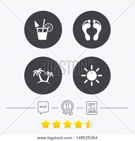 Beach holidays icons. Cocktail, human footprints and palm trees signs. Summer sun symbol. Chat, award medal and report linear icons. Star vote ranking. Vector