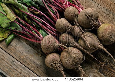 Beets with green leaves
