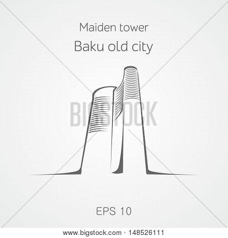 Maiden tower vector illustration. Baku old city. Azerbaijan.