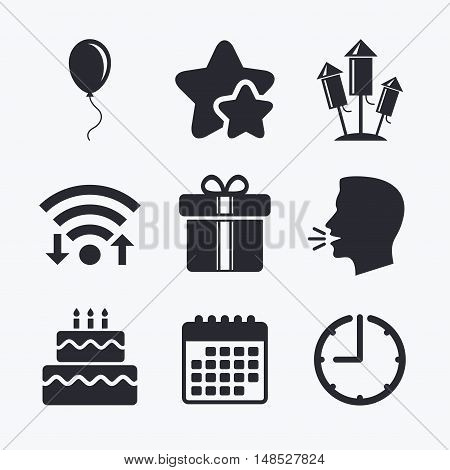 Birthday party icons. Cake and gift box signs. Air balloons and fireworks rockets symbol. Wifi internet, favorite stars, calendar and clock. Talking head. Vector
