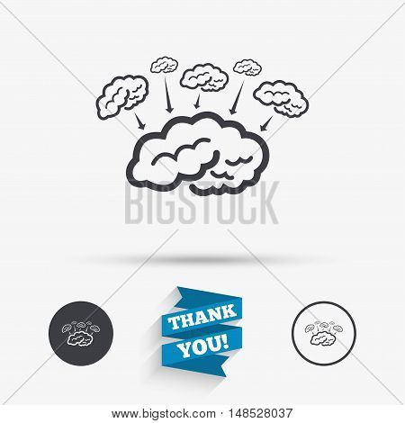 Brain sign icon. Brainstorm business ideas. Human intelligence mind. Flat icons. Buttons with icons. Thank you ribbon. Vector