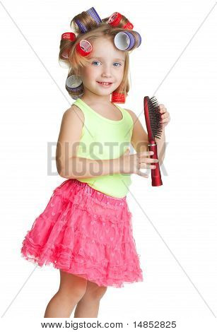 Little Girl Play Hairdresser