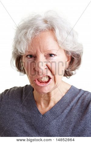 Angry Senior Woman Showing Her Teeth