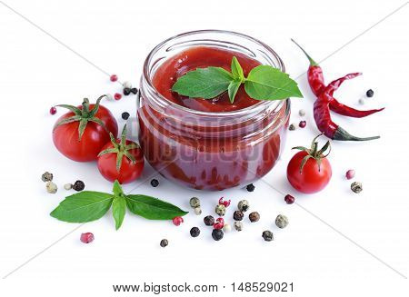 Tomato Sauce And Basil In Glass Jar