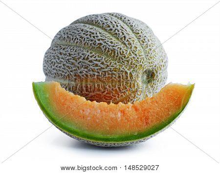 Fresh Cantaloupe Melon With Pieces