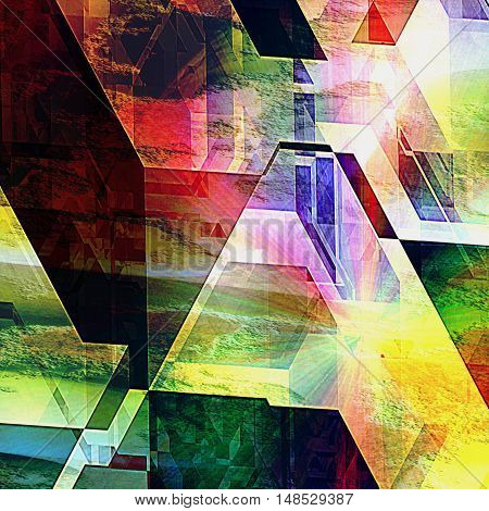 Abstract futuristic background with geometric shapes and spectral rays reminiscent of modern architecture. Polygonal futuristic background of prisms and polygonal shapes