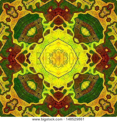 Abstract seamless kaleidoscopic pattern in autumn colors. Red, yellow, green and brown pattern with octagons and mosaic. Ornamental floor pavement pattern with veined structure