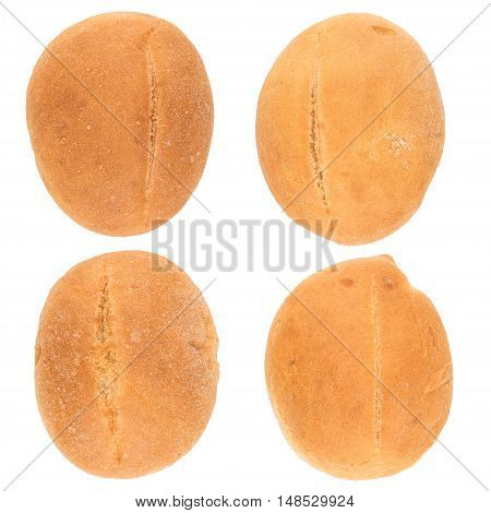 Hamburger bun on white background. Top view.