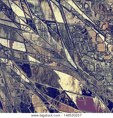 Geometric vintage ancient background or texture with grunge decor elements and different color patterns: yellow (beige); brown; gray; blue; purple (violet); pink