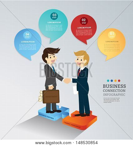 Business partnership investment with finance agreement  on jigsaw connect . Can used for infographics and banners, presentation, education,financial. illustration business concept design.