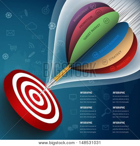 Dart is a competition and opportunity. Dartboard is like the target center and goal of business.Vector illustration  infographic business design concept.