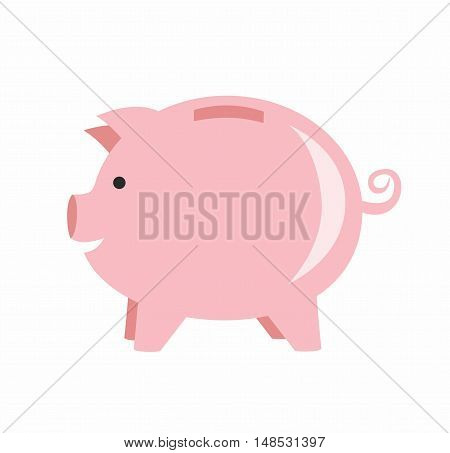 vector Illustration Piggy bank isolated on white background