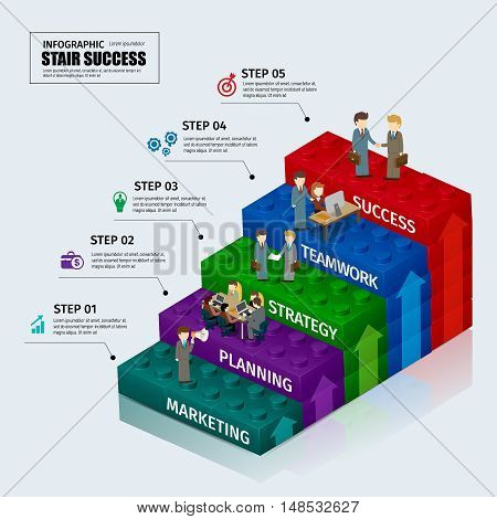 Toy blocks chart business step stair teamwork infographic concept.can used for presentation,data,diagram,chart and website design