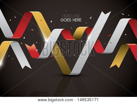Vector of stylized ribbon banner and background