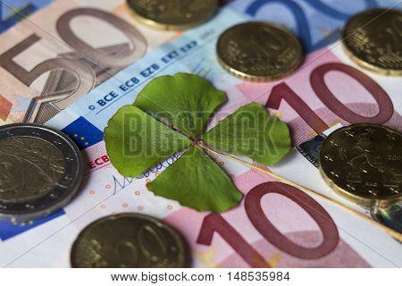 Four leaf clover luck money cash coin euro