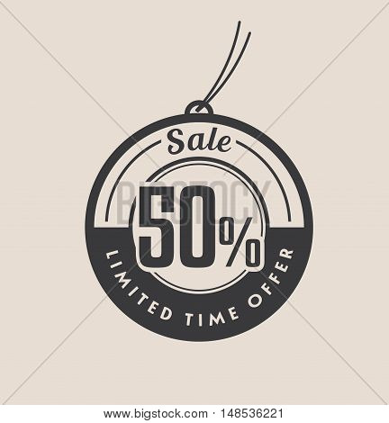 Fifty percent discount. Black Sale vector tags.