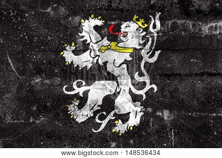Flag Of Ghent, Belgium, Painted On Dirty Wall