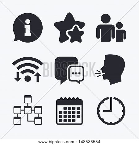 Information sign. Group of people and database symbols. Chat speech bubbles sign. Communication icons. Wifi internet, favorite stars, calendar and clock. Talking head. Vector