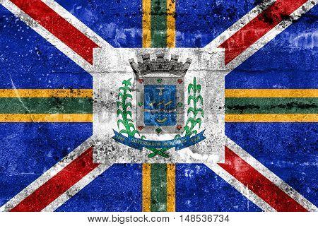 Flag Of Governador Valadares, Minas Gerais State, Brazil, Painted On Dirty Wall