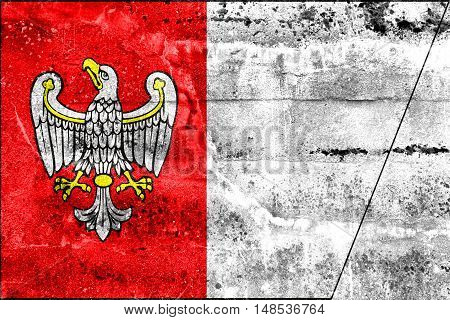 Flag Of Greater Poland Voivodeship, Poland, Painted On Dirty Wall