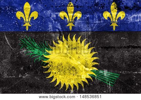 Flag Of Guadeloupe (local), France, Painted On Dirty Wall