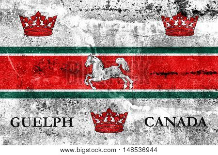 Flag Of Guelph, Canada, Painted On Dirty Wall