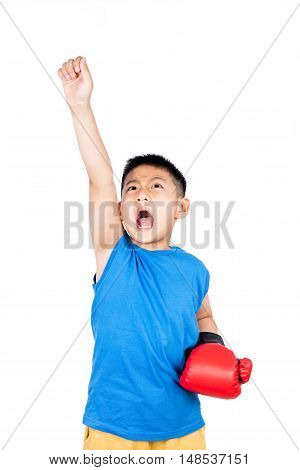 Asian Chinese Boy Wearing Boxing Gloves With Victory