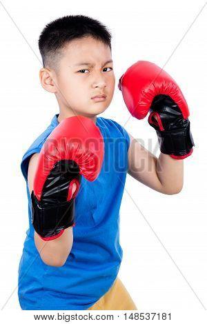 Asian Chinese Boy Wearing Boxing Gloves